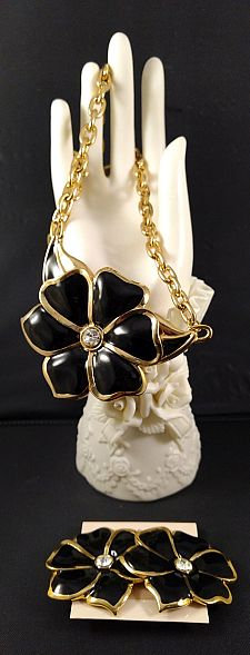 CRAFT Black Enamel Flower Necklace and Earring Set
