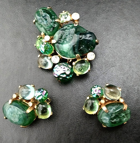 Castlecliff Brooch/Pin & Earrings Demi-Parure