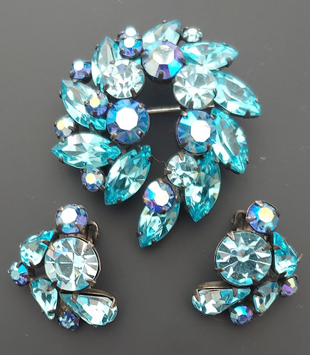 Regency Blue Rhinestone Dimensional Pin & Earring Set