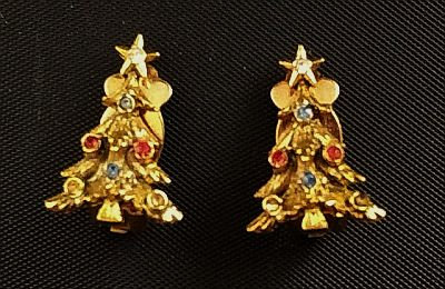 Christmas Tree Rhinestone Earrings