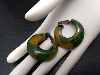 Bakelite Green Creamed Spinach Hoop Clip On Earrings