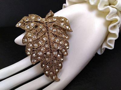 Rhinestone Leaf Dress Clip