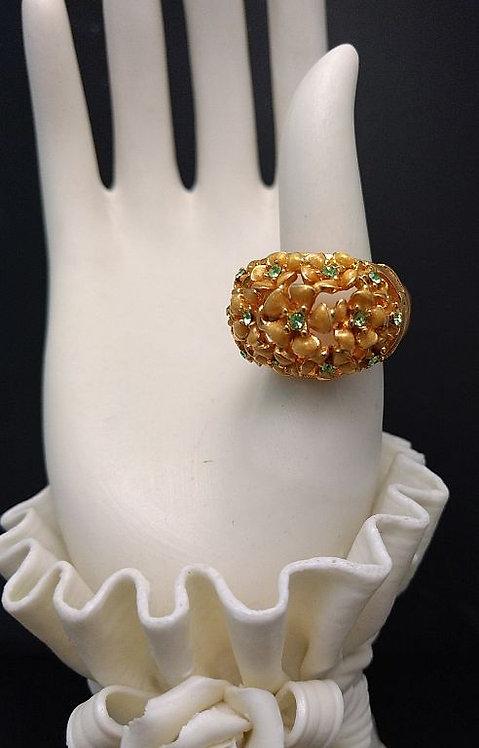 1980's Hobe Gold w/ Green Rhinestone Flower Ring