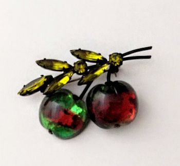 Austrian Glass Apple Pin