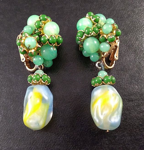 Vogue Jlry Earrings Green Glass Beads