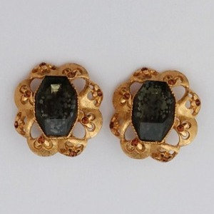 Florenza Black Aet Glass Earrings