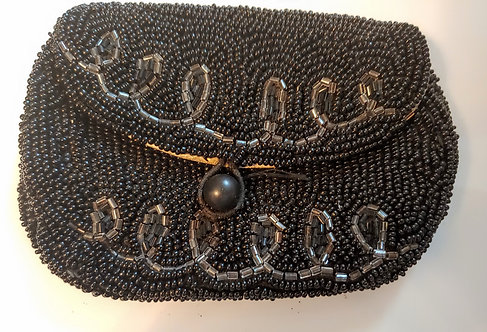 1930's Black Seed Bead Coin Purse - x76