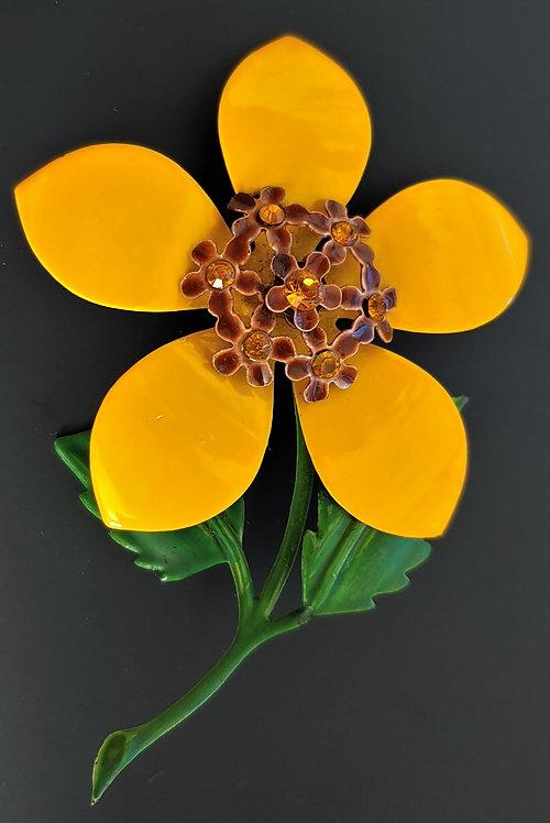 1960's Yellow Flower Power Pin