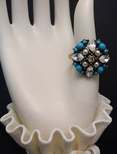 Hobe Simulated Turquoise and Pearl Ring - r505111