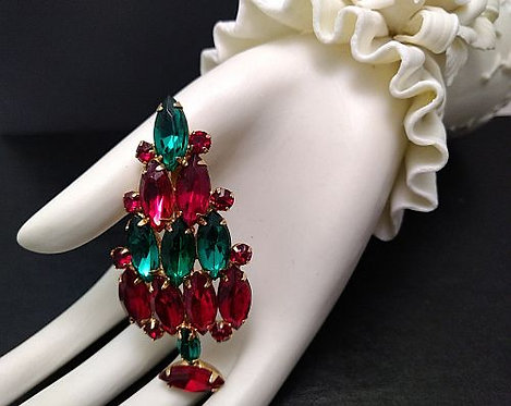 Vintage Christmas Tree Pin Red & Green Rhinestones