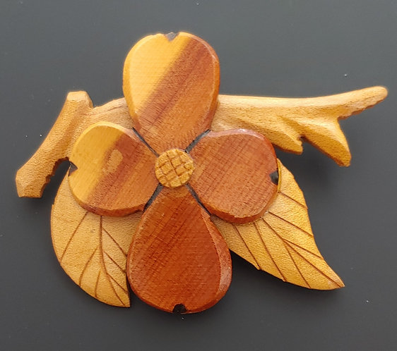 Wood Dogwood Blossom pin