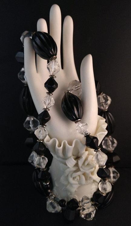 Black & Clear Lucite Necklace