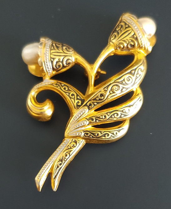 Damascene Spain Flower Pin