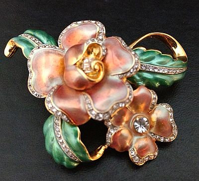 Kenneth Lane Enameled KJL Flower Pin