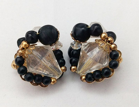 Judy Lee Clear & Black Earrings