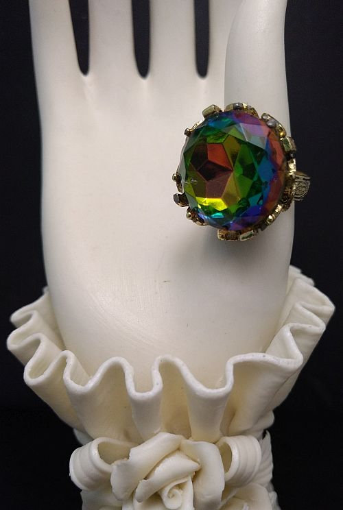 Rainbow Rhinestone Costume Fashion Ring