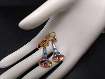 Vintage Christmas Blue Bell Rhinestone Earrings