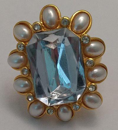 Kenneth Lane KJL Adjustable Ring Ice Blue and Pearl