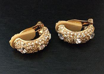 Kenneth Lane KJL Half Hoop Clear Rhinestone Earrings