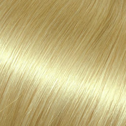 Platinum blonde halo hair extensions