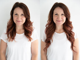 Before and after of red halo hair extensions