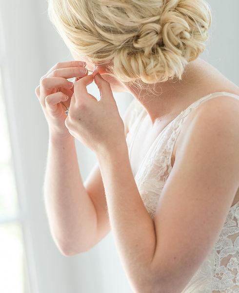 blonde updo bride