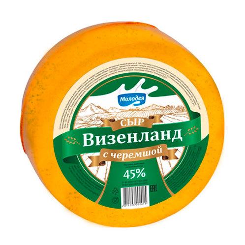 """Сыр """"Визенланд с черемшой"""" 45,0%ж, круг вес Беларусь"""