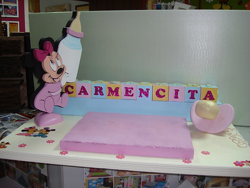 REF.214 Base tarta bebé minnie mouse con nombre