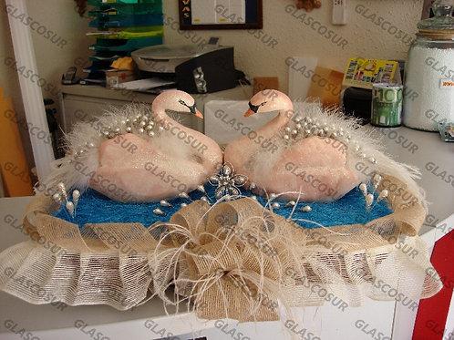 REF.116 Juego 2 cisnes alfileres detalles de boda