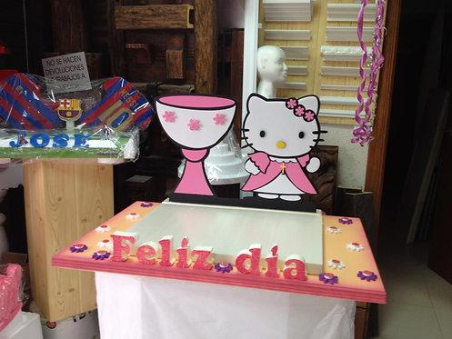 REF.315 Base tarta Hello Kittty comunión y nombre
