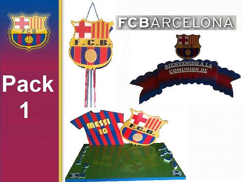 REF.350 Pack 1 FC Barcelona cartel+tarta+piñata