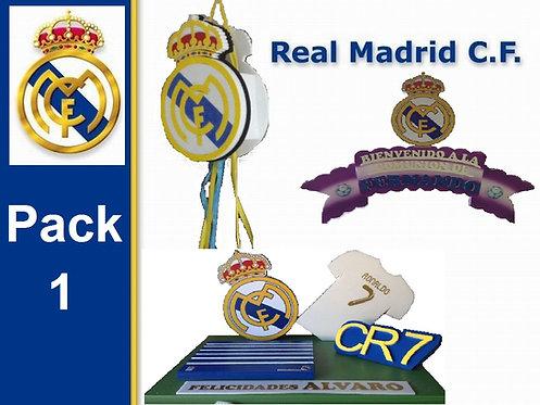 REF.349 Pack 1 Real Madrid cartel+tarta+piñata