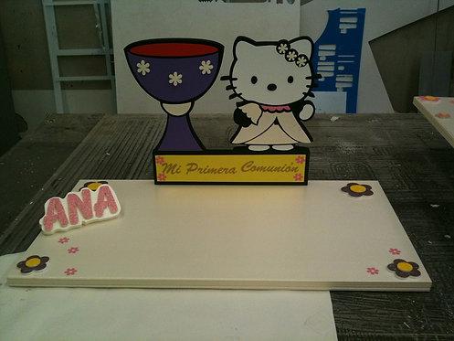 REF.319 Base tarta Hello Kitty con nombre