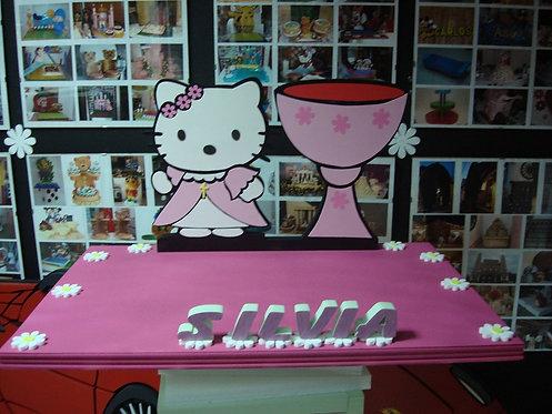 REF.313 Base tarta Hello Kitty comunión con nombre