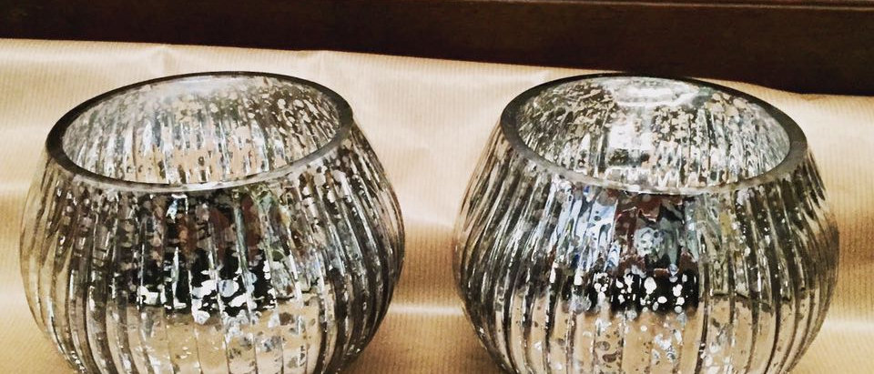SILVER SPECKLED CANDLE HOLDERS