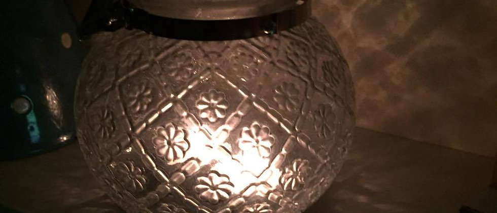 GLASS GLOBE LANTERN WITH SILVER HANDLE