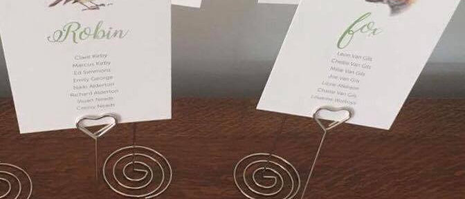 SILVER HEART TABLE NAME STANDS
