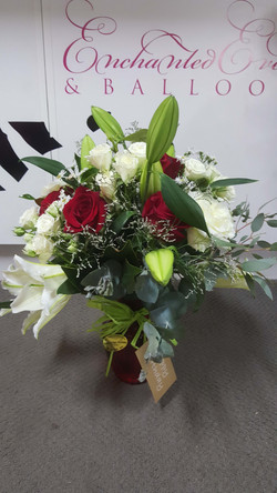 Roses with Lillies in Vase $100