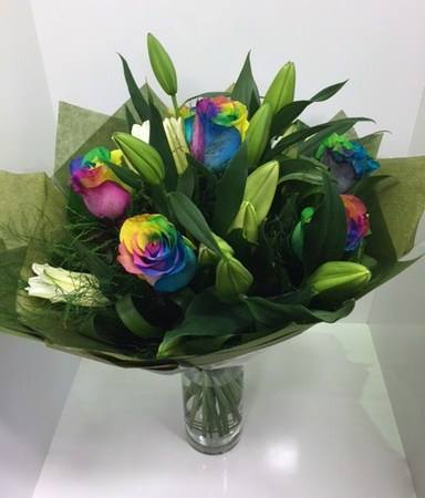 Raibow Roses and Lillies $80