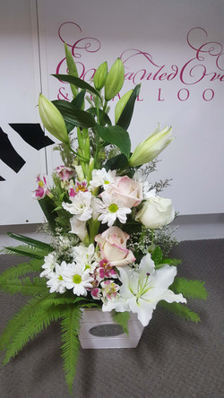 Pink & White Tall Arrangement in Punnet $70