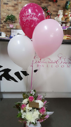 Pink Birthday Box with Chocies and balloons $85