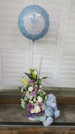 Baby Boy Arrangment with Bear and Balloon $150