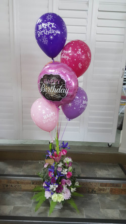 Tall Pink and Purple Arrangement with Balloon Bouquet $140