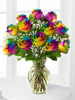 12 Rainbox Roses $180
