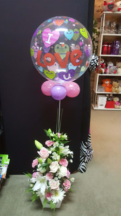 Pink & White Tall Arrangement Deluxe in Punnet with Balloon $100