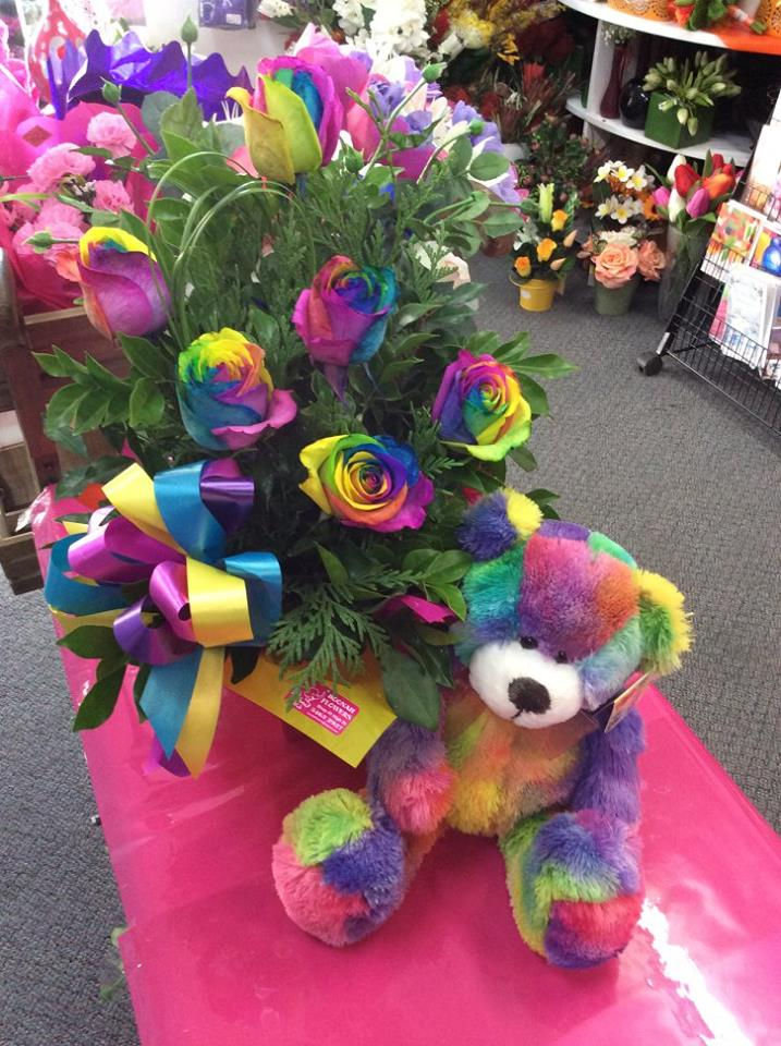 Box 6 Rainbow Roses Bear $100