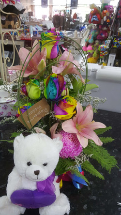 Rainbow Roses and Bear $100