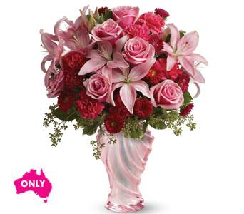 Pink and Red Roses & Vase $125