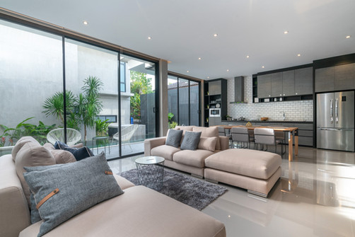 living room with sliding doors