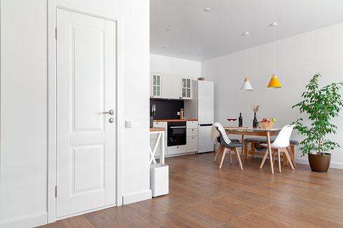 modern-interior-kitchen-white-wall-wooden-chairs-green-flower-pot-concept-scandinavian-des